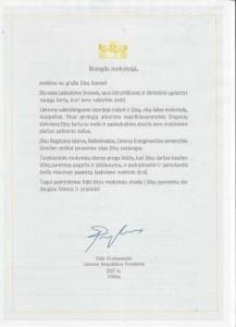 Prezidentės sveikinimas